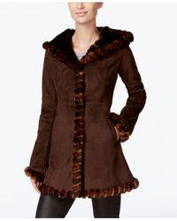 Jones New York | Brown Faux-fur-trim Faux-suede Walker Coat | Lyst