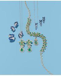"Effy Collection Blue Royalé Bleu By Effy® Sapphire (1-1/4 Ct. T.w.) & Diamond (1/6 Ct. T.w.) 16"" Pendant Necklace In 14k White Gold"