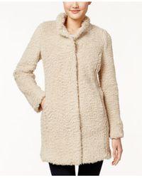 Kenneth Cole - Natural Plus Size Faux-fur Coat - Lyst