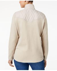 Style & Co. - Natural Quilted Fleece-contrast Jacket - Lyst