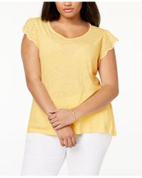 Style & Co. Yellow Plus Size Cotton Flutter-sleeve T-shirt, Created For Macy's