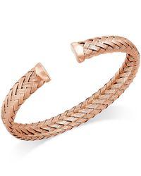 Macy's - Metallic Woven Cuff Bracelet In 14k Rose Gold Over Sterling Silver - Lyst