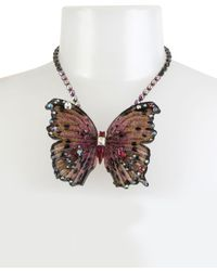 "Betsey Johnson - Pink Hematite Tone Glitter & Stone Large Butterfly Statement Necklace, 16"" + 3"" Extender. - Lyst"