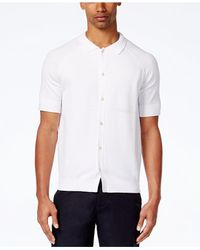 Sean John - White Men's Short-sleeve Button-front Cotton Sweater for Men - Lyst