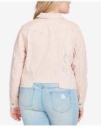 Jessica Simpson - Multicolor Trendy Plus Size Cotton Ripped Denim Jacket - Lyst