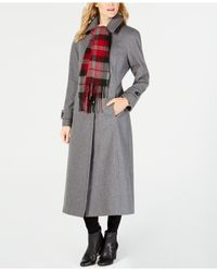 London Fog - Gray Maxi Wool-blend Coat With Scarf - Lyst