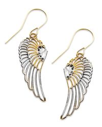 Macy's - Metallic 10k Two Tone Gold Earrings, Wing Dangle Earrings - Lyst