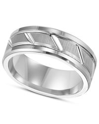 Triton - Metallic Men's White Tungsten Carbide Ring, 8mm Diamond-cut Wedding Band for Men - Lyst