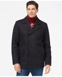 Tommy Hilfiger - Gray Double-breasted Peacoat for Men - Lyst