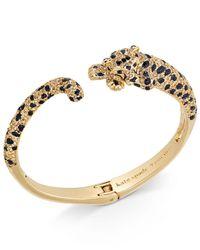 Kate Spade - Metallic Gold-tone Yellow Pavé & Jet Stone Cheetah Hinged Cuff Bracelet - Lyst