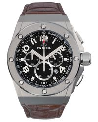 TW Steel | Gray Unisex Chronograph Ceo Tech Brown Leather Strap Watch 44mm Ce4013 for Men | Lyst