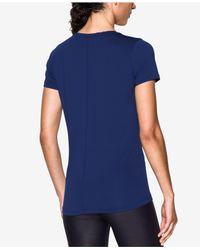 Under Armour - Blue Short-sleeve Heatgear Top - Lyst