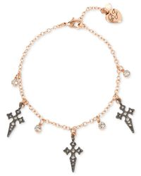 Betsey Johnson - Metallic Two-tone Crystal Cross Ankle Bracelet - Lyst