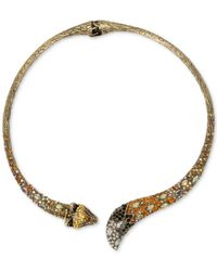 Betsey Johnson | Metallic Gold-tone Multi-stone Fox Hinged Collar Necklace | Lyst