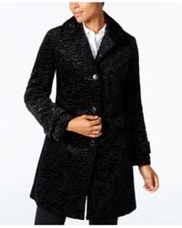Jones New York - Black Faux-fur Walker Coat - Lyst