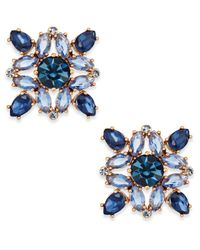 Kate Spade - Blue Rose Gold-tone Multi-crystal Stud Earrings - Lyst
