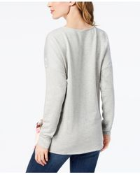 Style & Co. - Gray Petite Tie-hem Top, Created For Macy's - Lyst