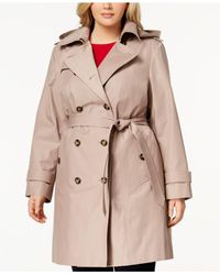 London Fog - Natural Plus Size Double-breasted Trench Coat - Lyst