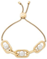 Michael Kors - Metallic Gold-tone Imitation Pearl Large Link Slider Bracelet - Lyst