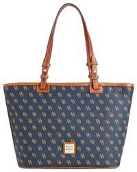 Dooney & Bourke - Blue Gretta Signature Small Leisure Shopper Bag - Lyst