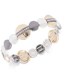 Nine West - Metallic Tri-tone Pavé Disc Stretch Bracelet - Lyst