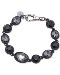 DKNY - Gray Hematite-tone & Black Rubber Colored Stone Flex Bracelet - Lyst