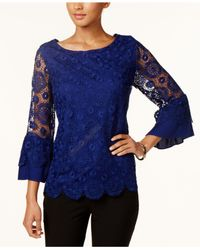 Charter Club - Blue Bell-sleeve Lace Top - Lyst