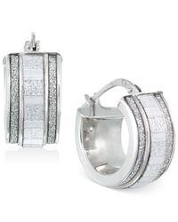 Macy's - Metallic Glitter Hoop Earrings In Sterling Silver - Lyst