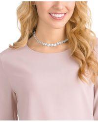 Swarovski - Metallic Silver-tone Crystal & Pavé Sphere Collar Necklace - Lyst