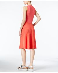 RACHEL Rachel Roy Red Mixed-media A-line Dress