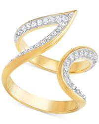 Swarovski - Metallic Gold-tone Contoured Pavé Ring - Lyst