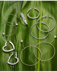 Guess - Metallic Crystal Threader Hoop Earrings - Lyst