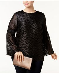 Michael Kors - Black Plus Size Jacquard Lantern-sleeve Top - Lyst