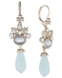 Marchesa - Metallic Gold-tone Crystal, Blue Stone & Bead Drop Earrings - Lyst