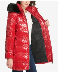 DKNY - Red Faux-fur-trim Puffer Coat - Lyst