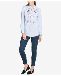 Tommy Hilfiger - Blue Cotton Embroidered Shirt - Lyst