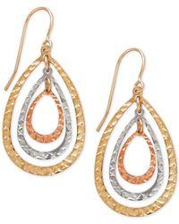 Macy's | Metallic Tri-tone Teardrop Orbital Drop Earrings In 10k White, Yellow And Rose Gold | Lyst