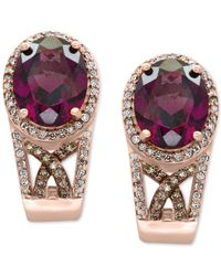 Effy Collection - Multicolor Rhodolite Garnet (4-1/2 Ct. T.w.) And Diamond (3/8 Ct. T.w.) Drop Earrings In 14k Rose Gold - Lyst