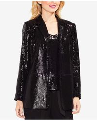 Vince Camuto - Black Notched-collar Sequined Blazer - Lyst