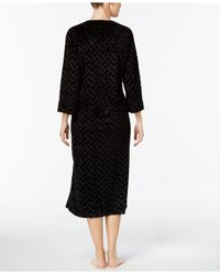 Miss Elaine - Black Embossed-velour Robe - Lyst