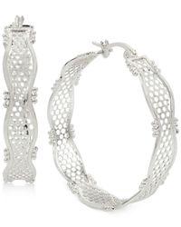 Touch Of Silver - Metallic Openwork Lace-look Hoop Earrings In Silver-plate - Lyst