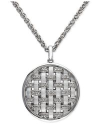 Effy Collection - Metallic Diamond Pendant Necklace (1/8 Ct. T.w.) In Sterling Silver - Lyst