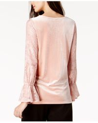 Kensie - Pink Lace-sleeve Velvet Top - Lyst