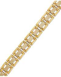 Macy's - Metallic Men's Two-tone Link Bracelet In 10k Gold for Men - Lyst