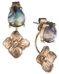 Lonna & Lilly - Metallic Gold-tone Abalone & Flower Front & Back Earrings - Lyst