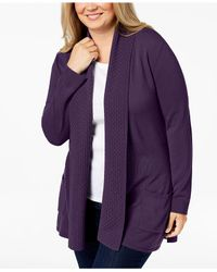 Karen Scott - Purple Plus Size Textured Shawl-collared Cardigan Sweater, Created For Macy's - Lyst
