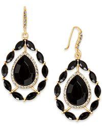 INC International Concepts - Black Gold-tone Stone & Pavé Teardrop Drop Earrings - Lyst
