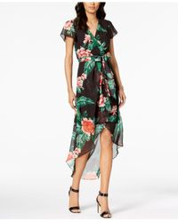 Julia Jordan - Green Floral Print High-low Wrap Midi Dress - Lyst