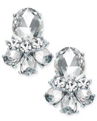 Charter Club - Metallic Rose Gold-tone Crystal Cluster Stud Earrings - Lyst