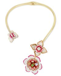 Betsey Johnson - Metallic Gold-tone Multi-crystal Garden Theme Hinged Open Collar Necklace - Lyst